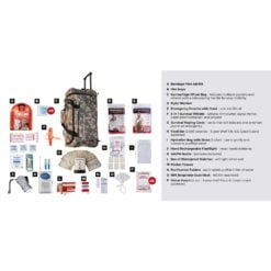 Survival Kit 1 Person Camo Wheelbag Description