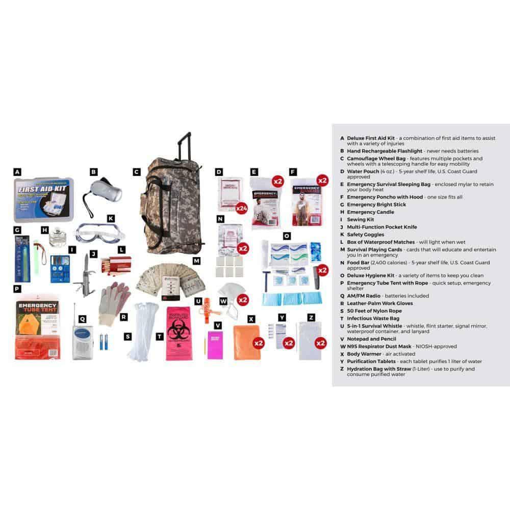Elite Survival Kit 2 Person Camo Wheelbag Description