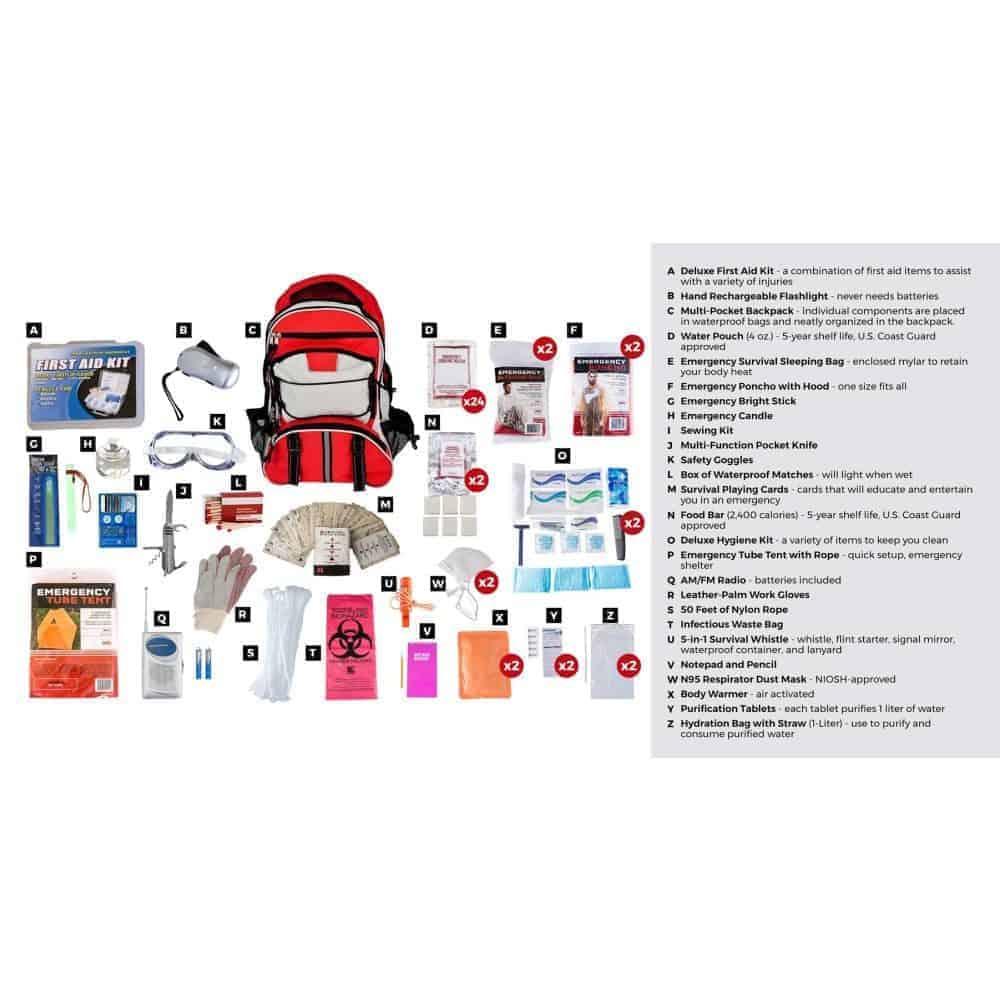 Elite Survival Kit 2 Person Red Description