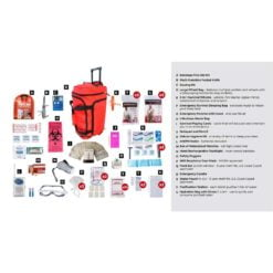Deluxe Survival 2 Person Red Wheelbag Description