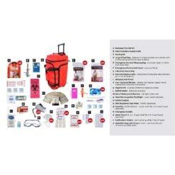 Deluxe Survival 4 Person Red Wheelbag Description