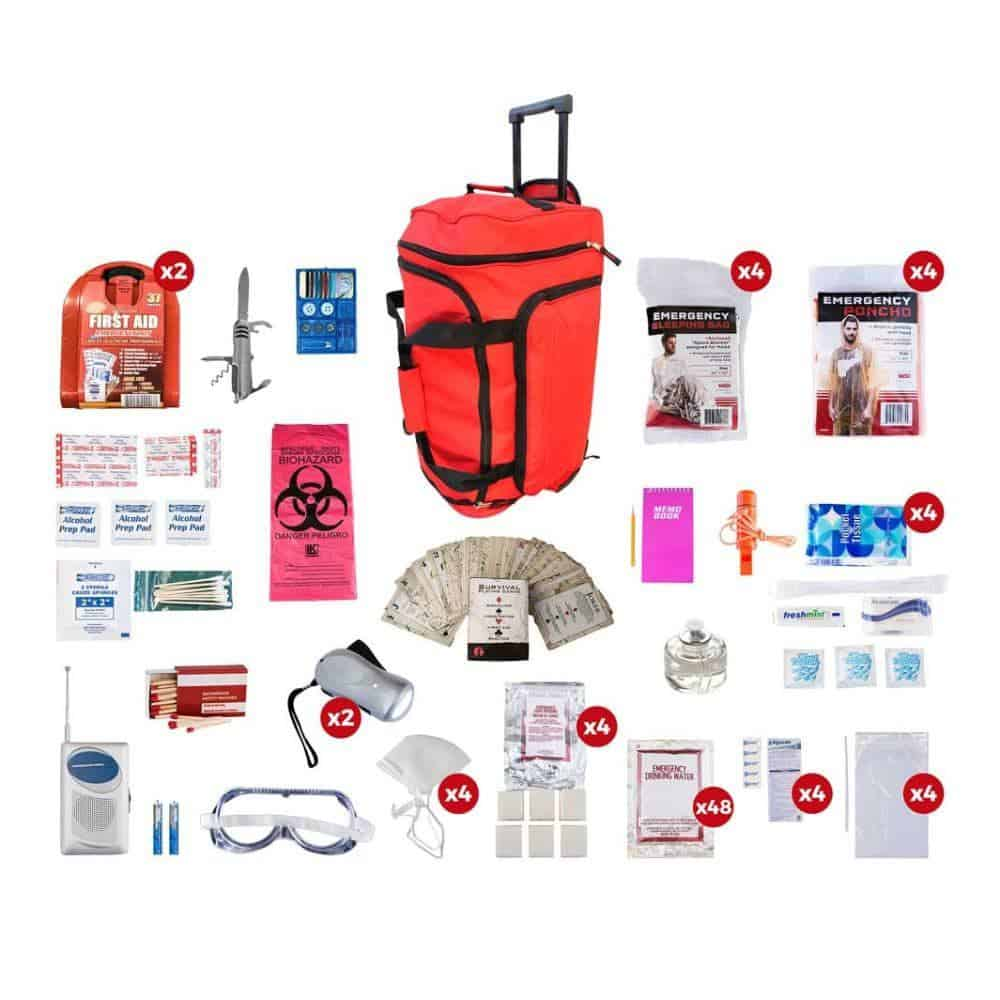 Deluxe Survival 4 Person Red Wheelbag