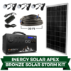 Stock photo of portable solar power generator, solar panel, and all included wiring.