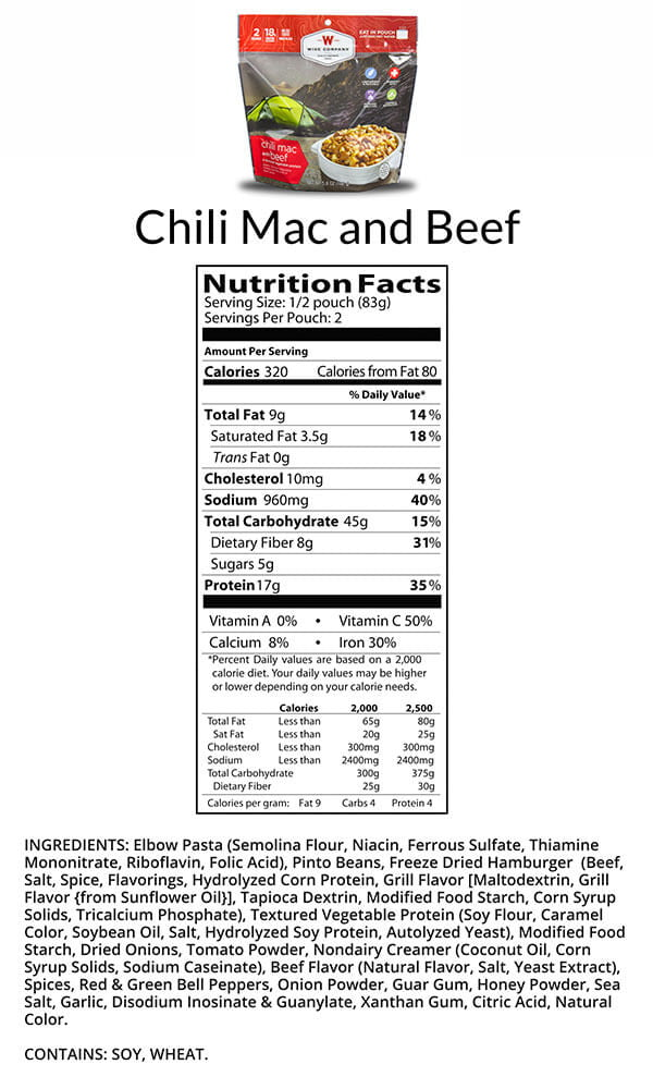 Chili Mac Nutrition