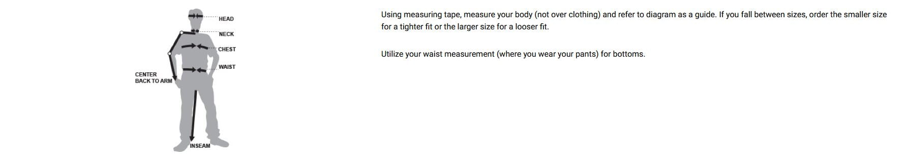 5.11 sizing instructions